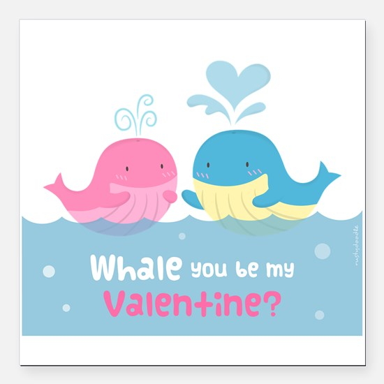 Cute Whale You Be My Valentine Pun Square Car Magn