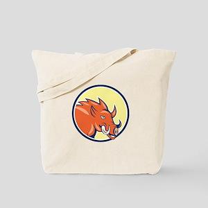 Razorback Head Charge Circle Cartoon Tote Bag