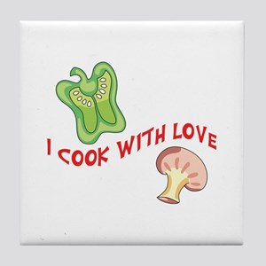 I Cook With Love Tile Coaster