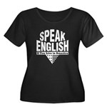 Speak English Women's Plus Size Scoop Neck Dark T-