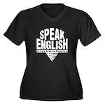 Speak English Women's Plus Size V-Neck Dark T-Shir