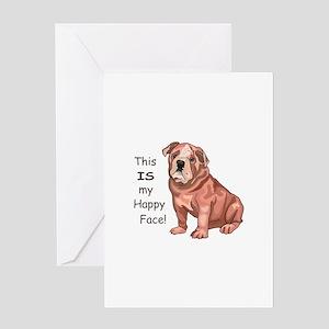BULLDOG HAPPY FACE Greeting Cards