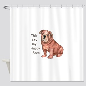 BULLDOG HAPPY FACE Shower Curtain