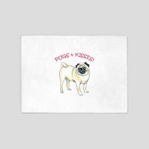 PUGS & KISSES! 5'x7'Area Rug