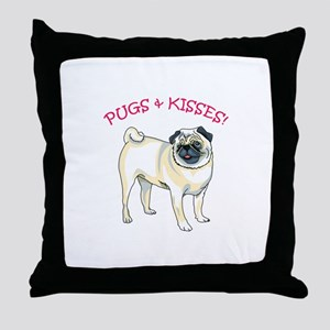 PUGS & KISSES! Throw Pillow
