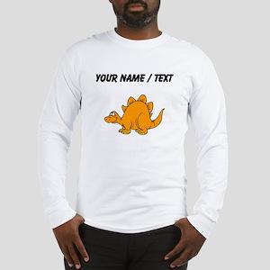 Custom Orange Stegosaurus Long Sleeve T-Shirt