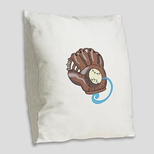 Baseball Glove& Ball Burlap Throw Pillow