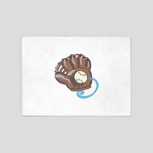Baseball Glove& Ball 5'x7'Area Rug