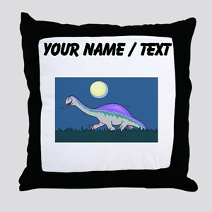 Custom Dinosaur At Night Throw Pillow