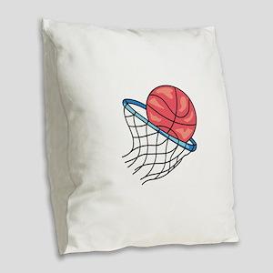Basketball Hoop Burlap Throw Pillow