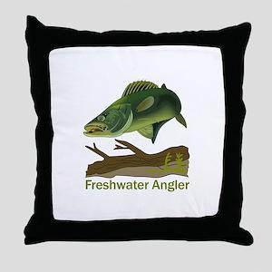 FRESHWATER ANGLER Throw Pillow