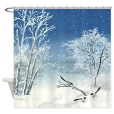 Magpie Winter Landscape Shower Curtain