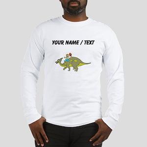 Custom Dinosaur And Boy Long Sleeve T-Shirt