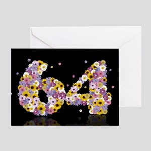 64th birthday card with flowery letters Greeting C