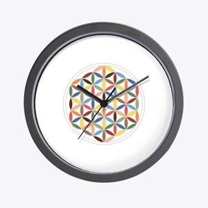 Flower Of Life Retro Cols Wall Clock