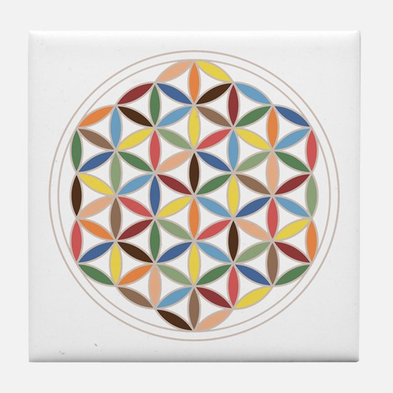 Flower Of Life Retro Cols Tile Coaster