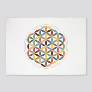 Flower Of Life Retro Cols 5'x7'area Rug