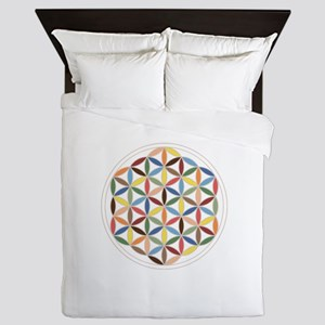 Flower Of Life Retro Cols Queen Duvet