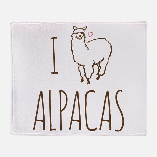 I Love Alpacas Throw Blanket