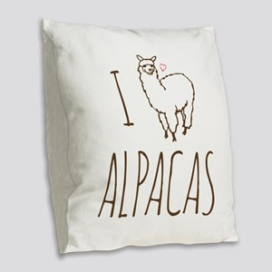 I Love Alpacas Burlap Throw Pillow