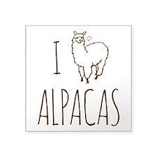I Love Alpacas Square Sticker 3