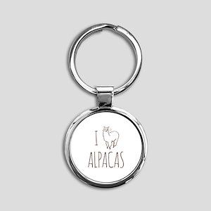 I Love Alpacas Round Keychain