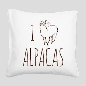 I Love Alpacas Square Canvas Pillow