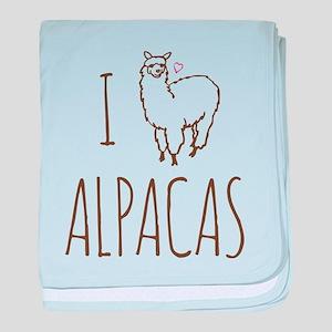 I Love Alpacas baby blanket