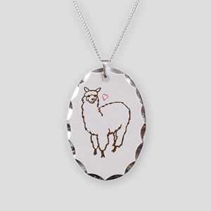 Cute Alpaca Necklace Oval Charm