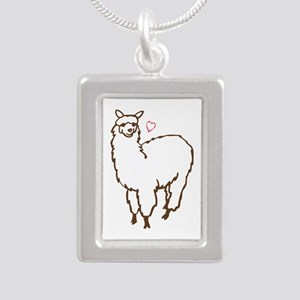 Cute Alpaca Silver Portrait Necklace