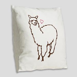 Cute Alpaca Burlap Throw Pillow