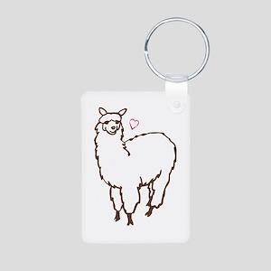 Cute Alpaca Aluminum Photo Keychain