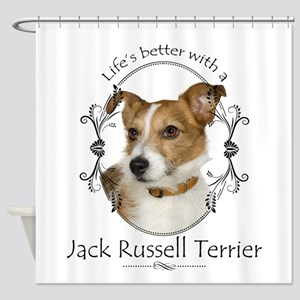 Life's Better Terrier Shower Curtain