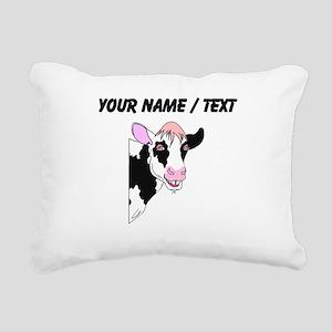 Custom Cow Smiling Rectangular Canvas Pillow