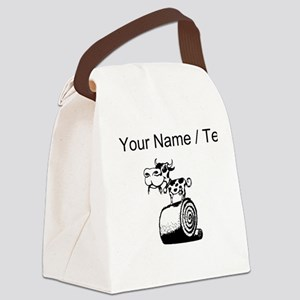 Custom Cow On Hay Bale Canvas Lunch Bag