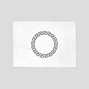GREEK KEY CIRCLE 5'x7'Area Rug