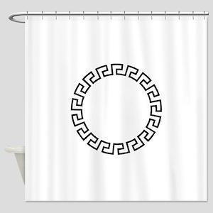 GREEK KEY CIRCLE Shower Curtain