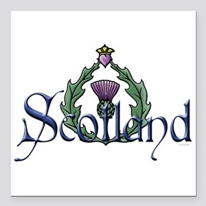 "Scotland: Thistle Square Car Magnet 3"" x 3"""