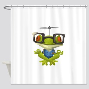 Yoga Frog In Glasses Shower Curtain
