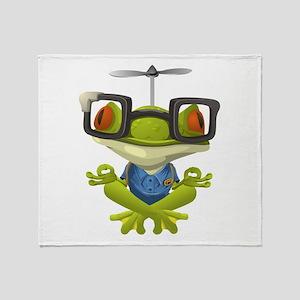 Yoga Frog In Glasses Throw Blanket