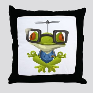 Yoga Frog In Glasses Throw Pillow