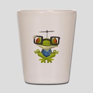 Yoga Frog In Glasses Shot Glass