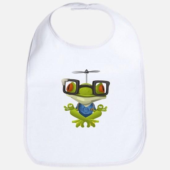 Yoga Frog In Glasses Bib