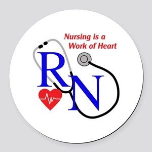 WORK OF HEART Round Car Magnet