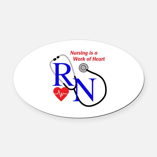 WORK OF HEART Oval Car Magnet