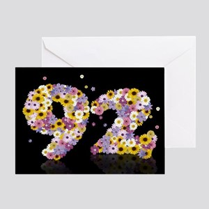 92nd birthday card with flowery letters Greeting C