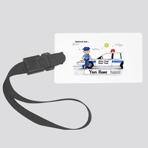 Police Officer - Blue Uniform, Male Luggage Tag