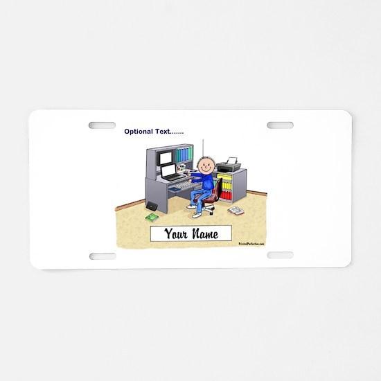 Computer Worker - Gamer, Male Aluminum License Pla