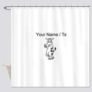 Custom Cow Drinking Milk Shower Curtain