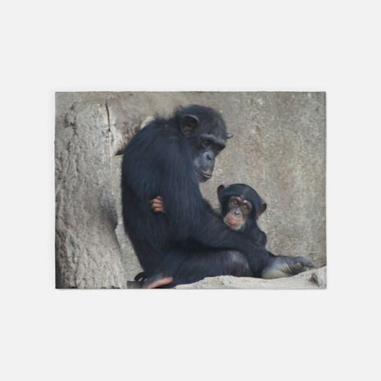 Chimpanzee Baby and Mummy 5'x7'Area Rug